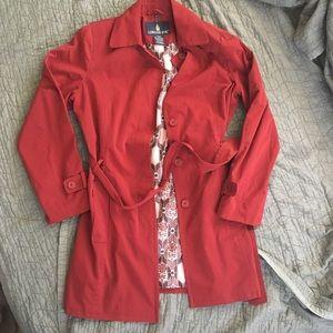 Dark Red Raincoat Trench Coat